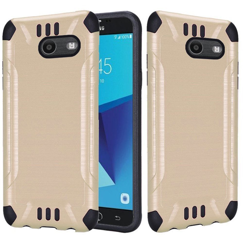 Samsung Galaxy J7 [2017]/ Galaxy J7 Perx/ J7 V/ Galaxy Halo Shockproof Case, Slim Armor Brushed Metal Design Hybrid Hard Case on TPU [Gold] with Travel Wallet Phone Stand