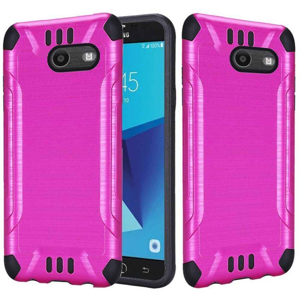 Samsung Galaxy J7 [2017]/ Galaxy J7 Perx/ J7 V/ Galaxy Halo Shockproof Case, Slim Armor Brushed Metal Design Hybrid Hard Case on TPU [Hot Pink] with Travel Wallet Phone Stand