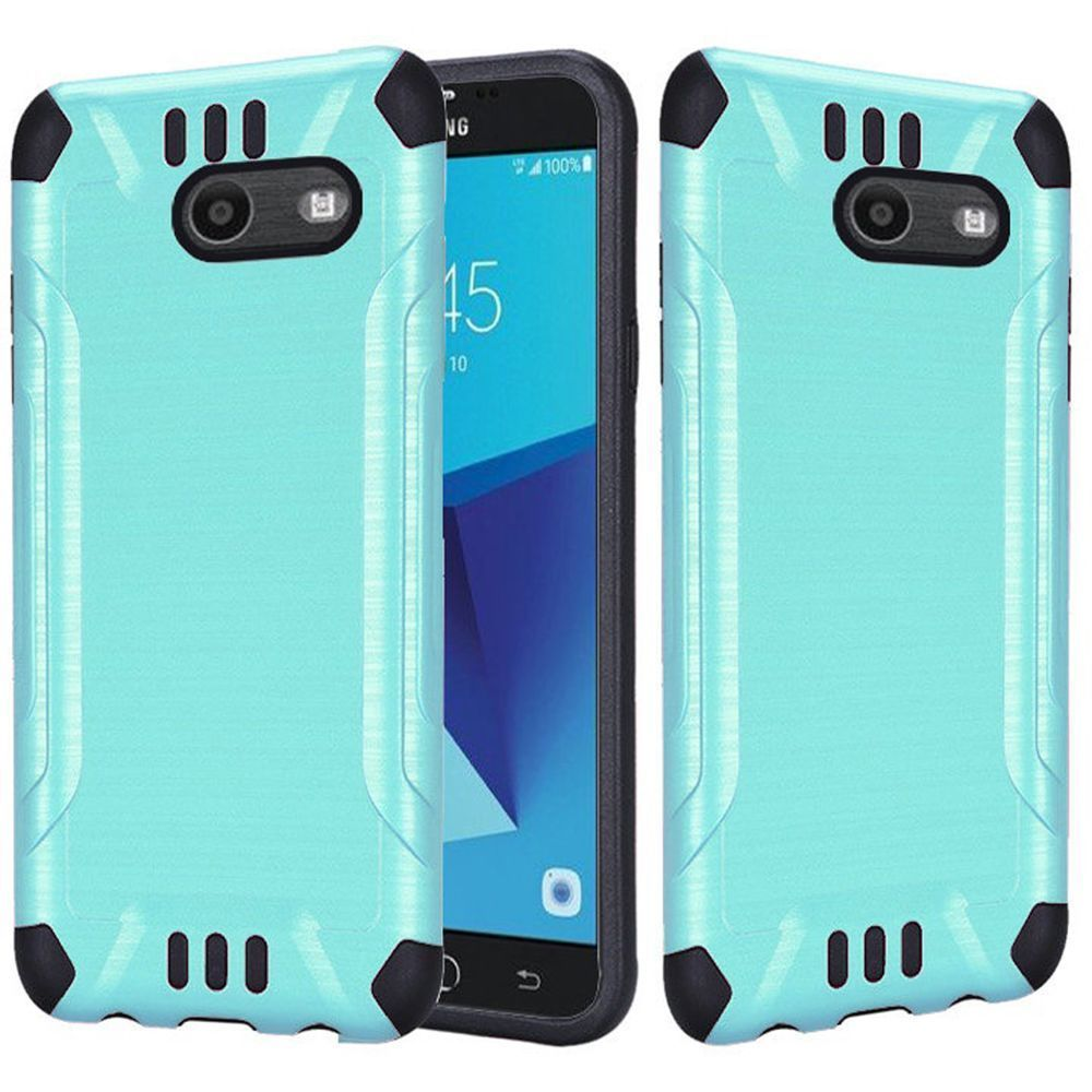 Samsung Galaxy J7 [2017]/ Galaxy J7 Perx/ J7 V/ Galaxy Halo Shockproof Case, Slim Armor Brushed Metal Design Hybrid Hard Case on TPU [Mint/ Black] with Travel Wallet Phone Stand