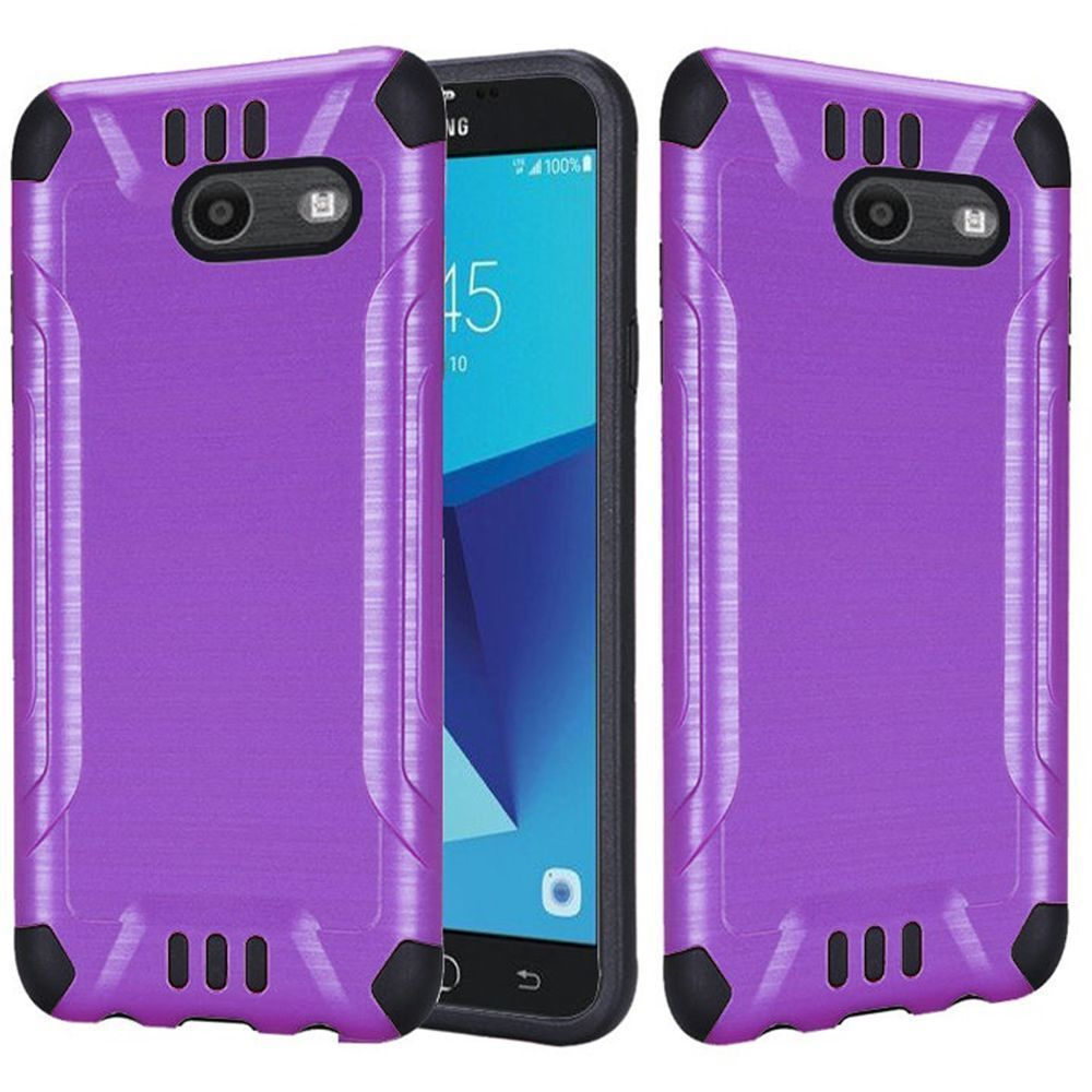 Samsung Galaxy J7 [2017]/ Galaxy J7 Perx/ J7 V/ Galaxy Halo Shockproof Case, Slim Armor Brushed Metal Design Hybrid Hard Case on TPU [Purple] with Travel Wallet Phone Stand