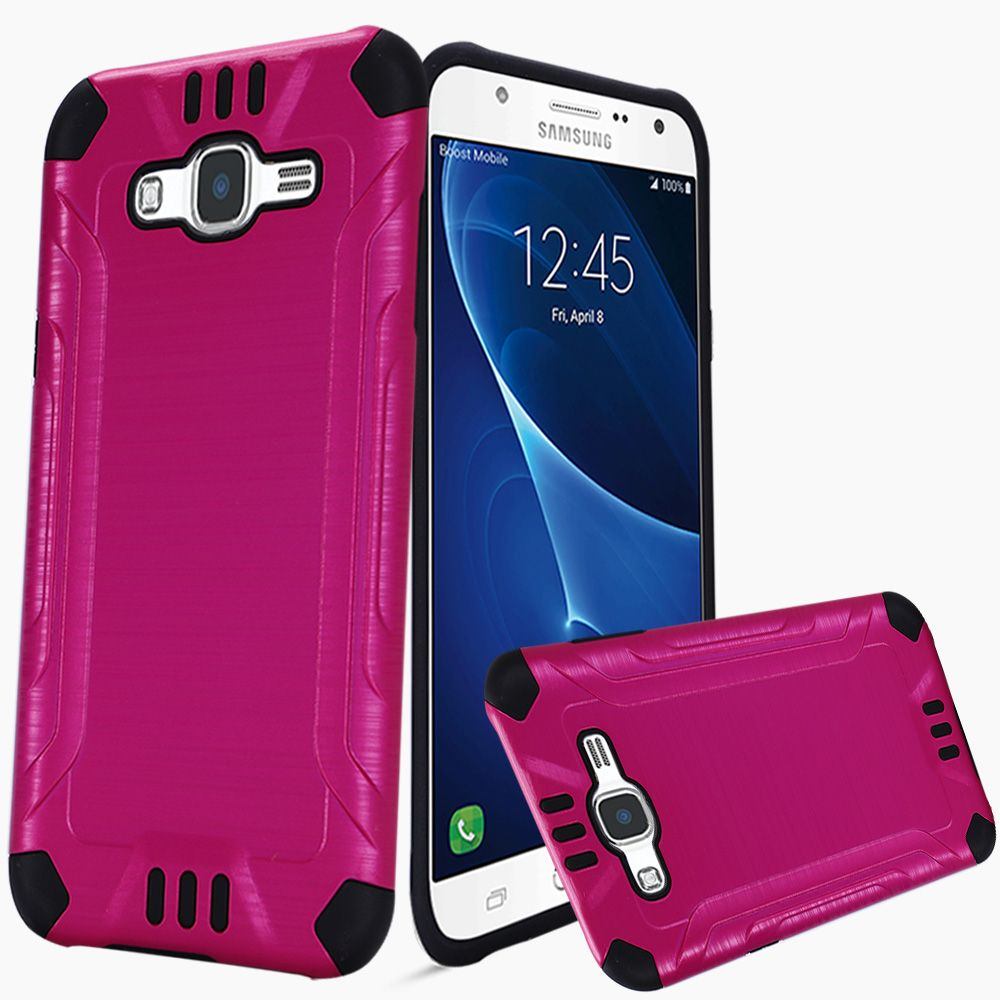 Samsung Galaxy J7 (2015) Case, Slim Armor Brushed Metal Design Hybrid Hard Case on TPU [Hot Pink/ Black]