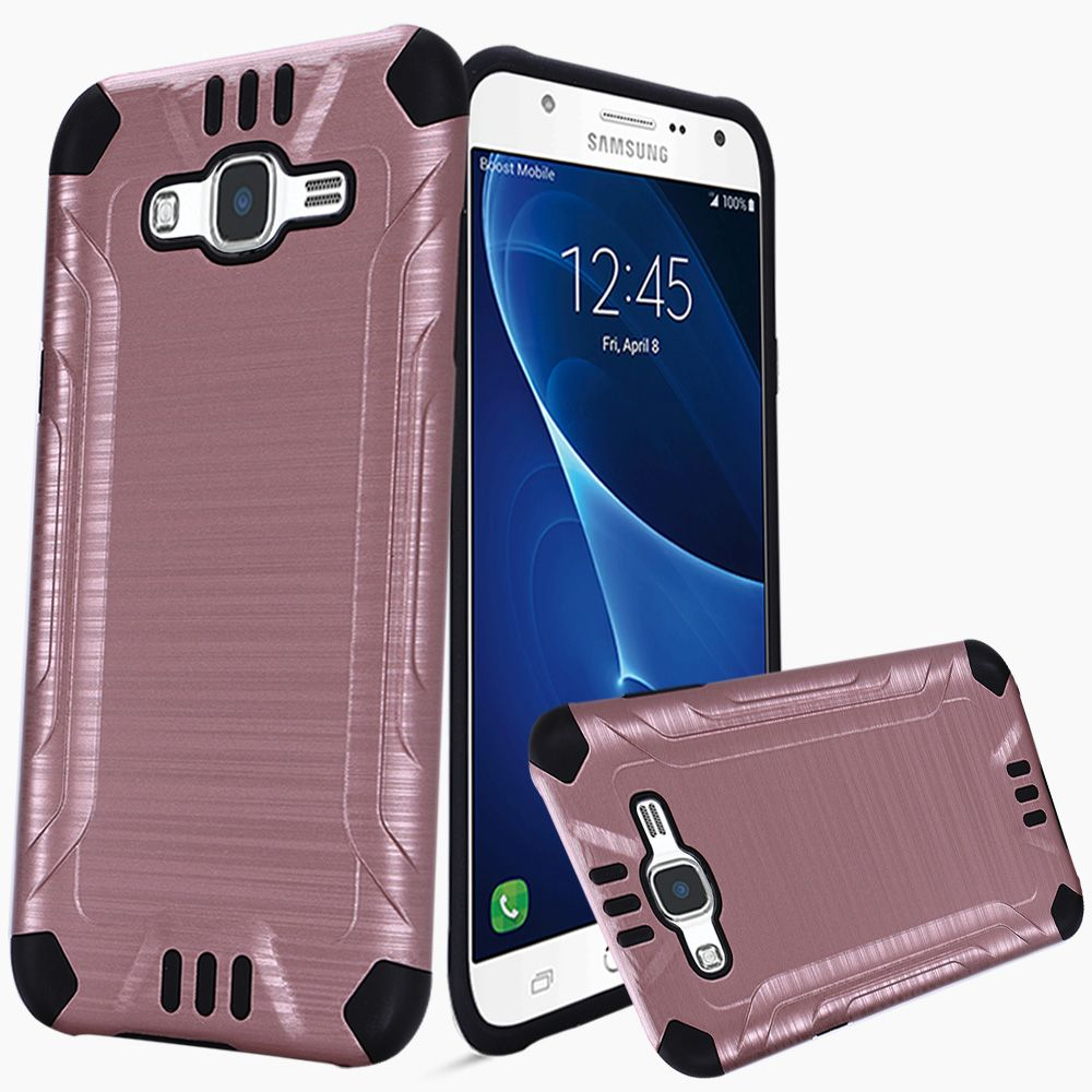 Samsung Galaxy J7 (2015) Case, Slim Armor Brushed Metal Design Hybrid Hard Case on TPU [Rose Gold/ Black]