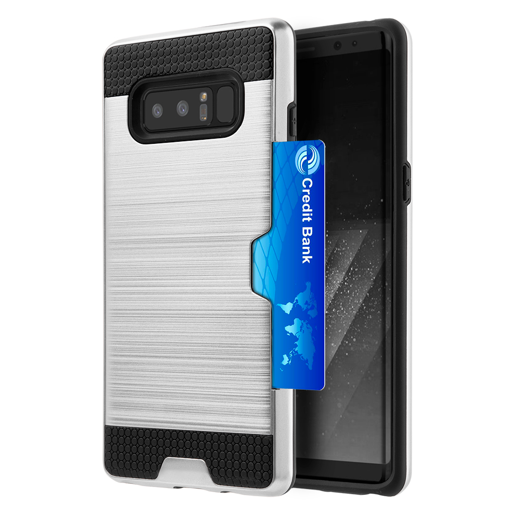 [REDshield] Samsung Galaxy Note 8 Card Case, [Silver & Black] Metallic Case Slim Brushed Metal Hybrid Hard Case on TPU w/ Card Slot