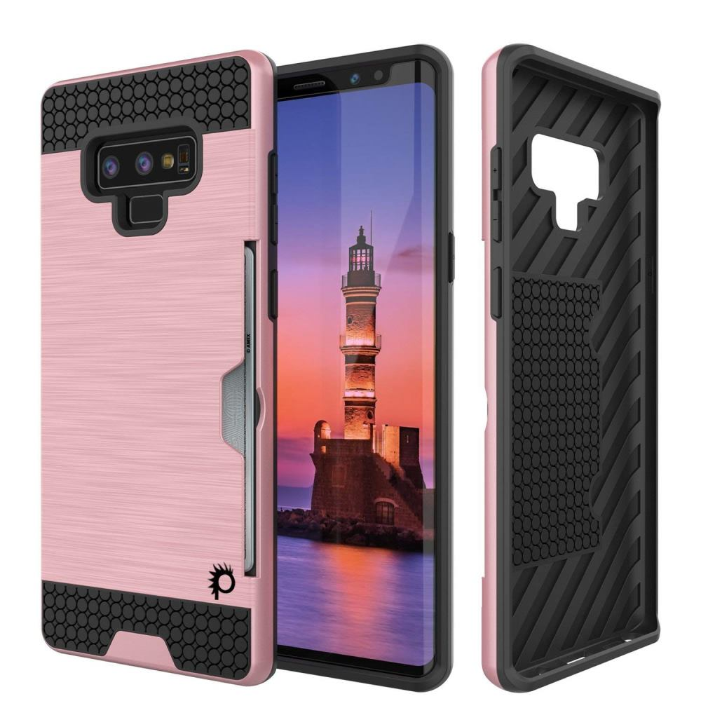 [REDshield] Samsung Galaxy Note 9 Card Case  [Rose Gold] Metallic Case Slim Brushed Metal Hybrid Hard Case on TPU w/ Card Slot