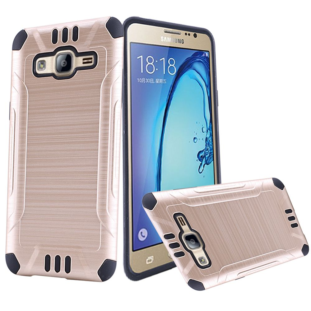 Samsung Galaxy On5 Case, Slim Armor Brushed Metal Design Hybrid Hard Case on TPU [Gold/ Black]