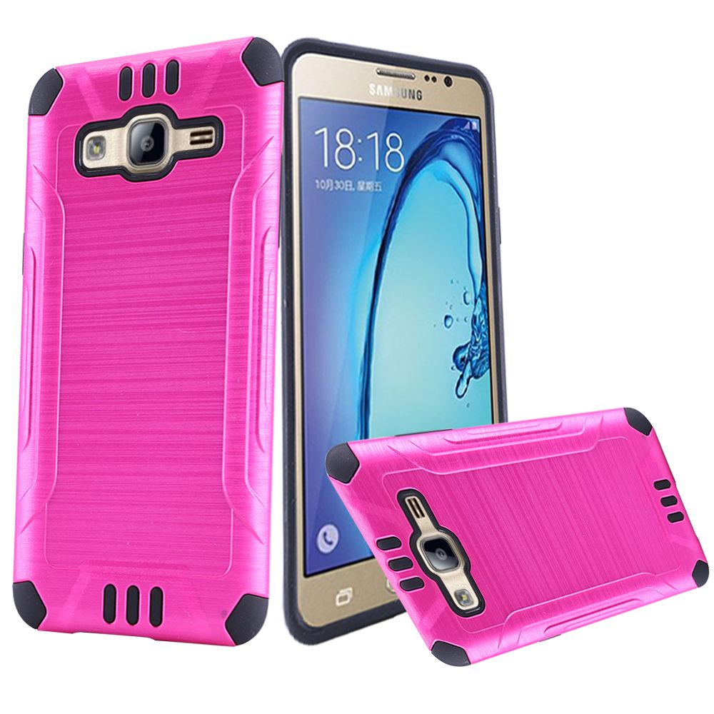 Samsung Galaxy On5 Case, Slim Armor Brushed Metal Design Hybrid Hard Case on TPU [Hot Pink/ Black]