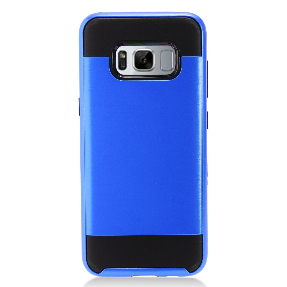 Samsung Galaxy S8 Slim Case, Slim Armor Brushed Metal Design Hybrid Hard Case on TPU [Blue/ Black] with Travel Wallet Phone Stand