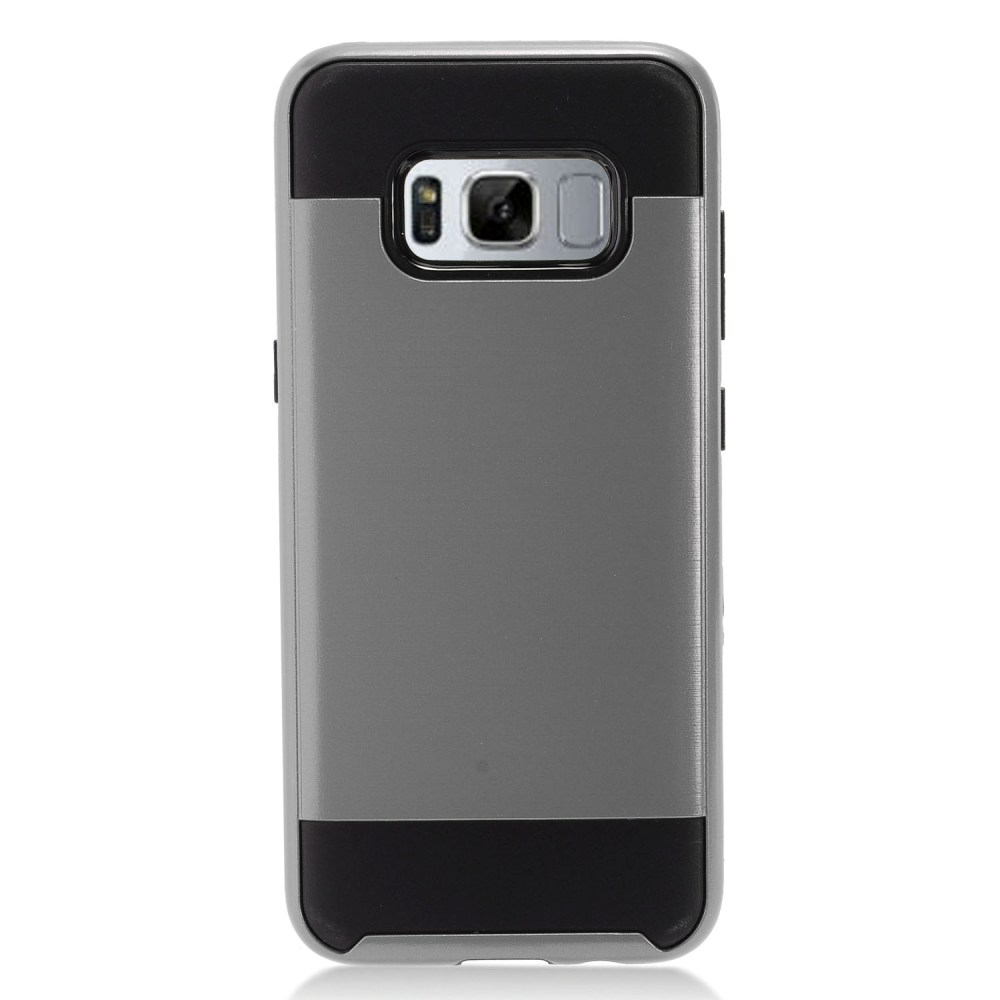 Samsung Galaxy S8 Slim Case, Slim Armor Brushed Metal Design Hybrid Hard Case on TPU [Gray/ Black] with Travel Wallet Phone Stand