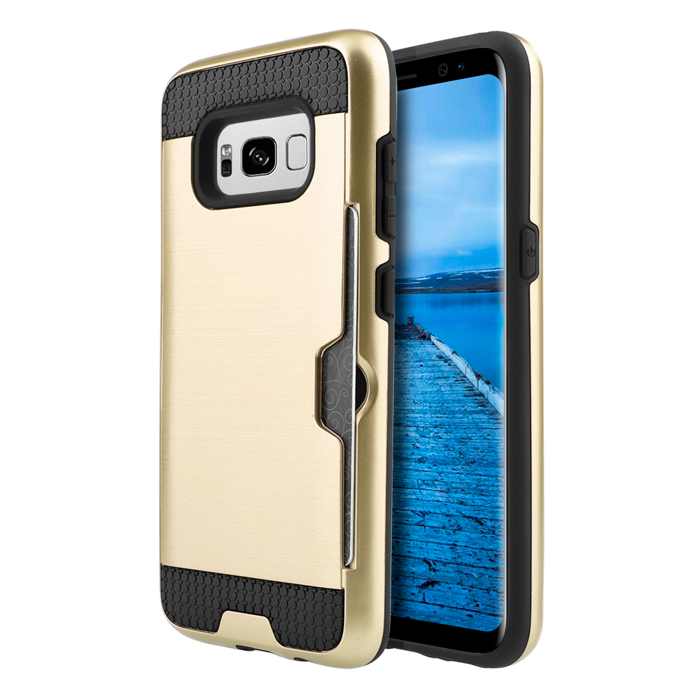 Samsung Galaxy S8 Plus Metallic Case, Slim Brushed Metal Hybrid Hard Case on TPU w/ Card Slot [Gold/ Black] with Travel Wallet Phone Stand