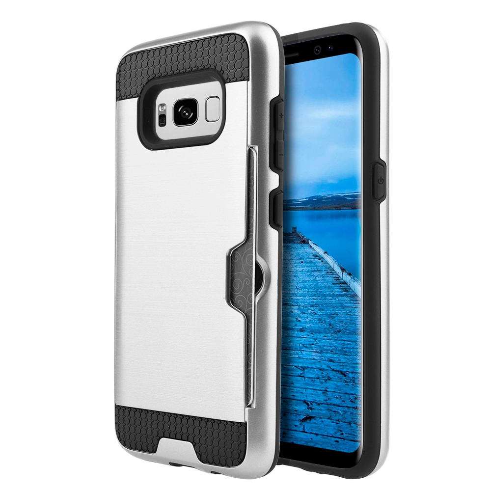 Samsung Galaxy S8 Plus Metallic Case, Slim Brushed Metal Hybrid Hard Case on TPU w/ Card Slot [Silver/ Black] with Travel Wallet Phone Stand