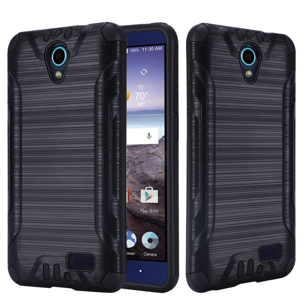 ZTE Avid Trio Case, Slim Armor Brushed Metal Design Hybrid Hard Case on TPU [Black] with Travel Wallet Phone Stand
