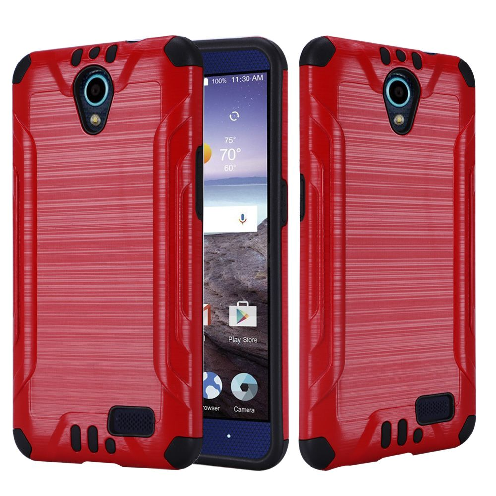 ZTE Avid Trio Case, Slim Armor Brushed Metal Design Hybrid Hard Case on TPU [Red/ Black] with Travel Wallet Phone Stand