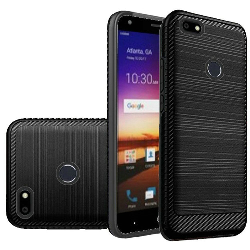 ZTE Blade X Hybrid Case, [Black] Slim Armor Brushed Metal Design Hard Case on TPU