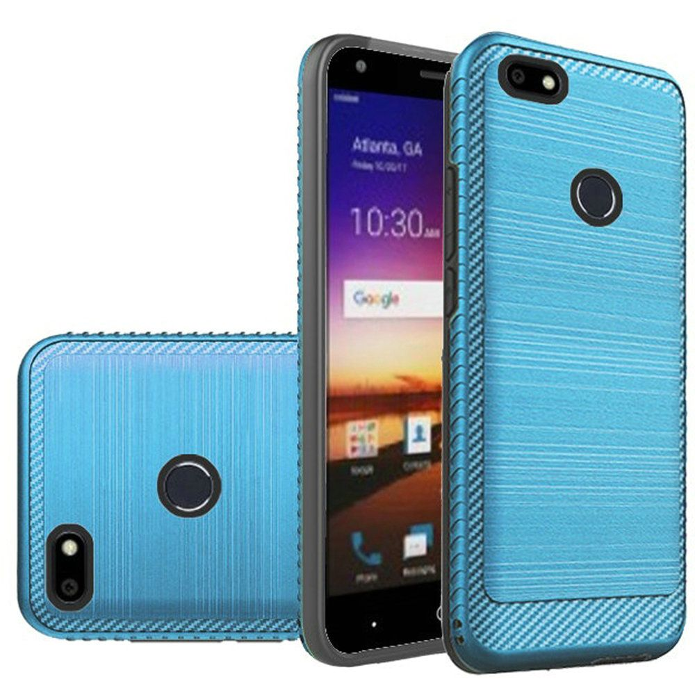 ZTE Blade X Hybrid Case, [Blue] Slim Armor Brushed Metal Design Hard Case on TPU