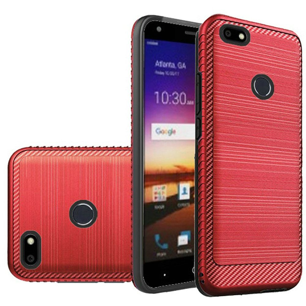 ZTE Blade X Hybrid Case, [Red] Slim Armor Brushed Metal Design Hard Case on TPU