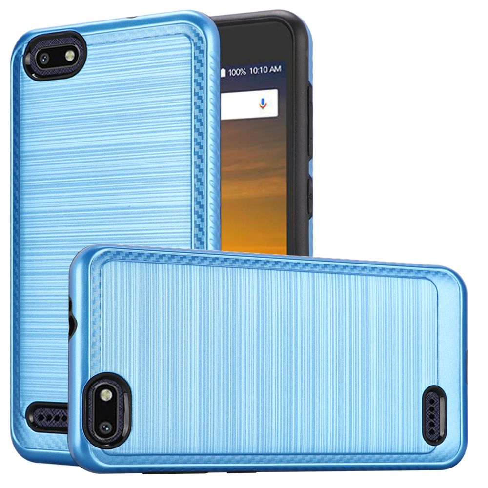 ZTE Blade Force Hybrid Case, [Blue] Slim Armor Brushed Metal Design Hard Case on TPU