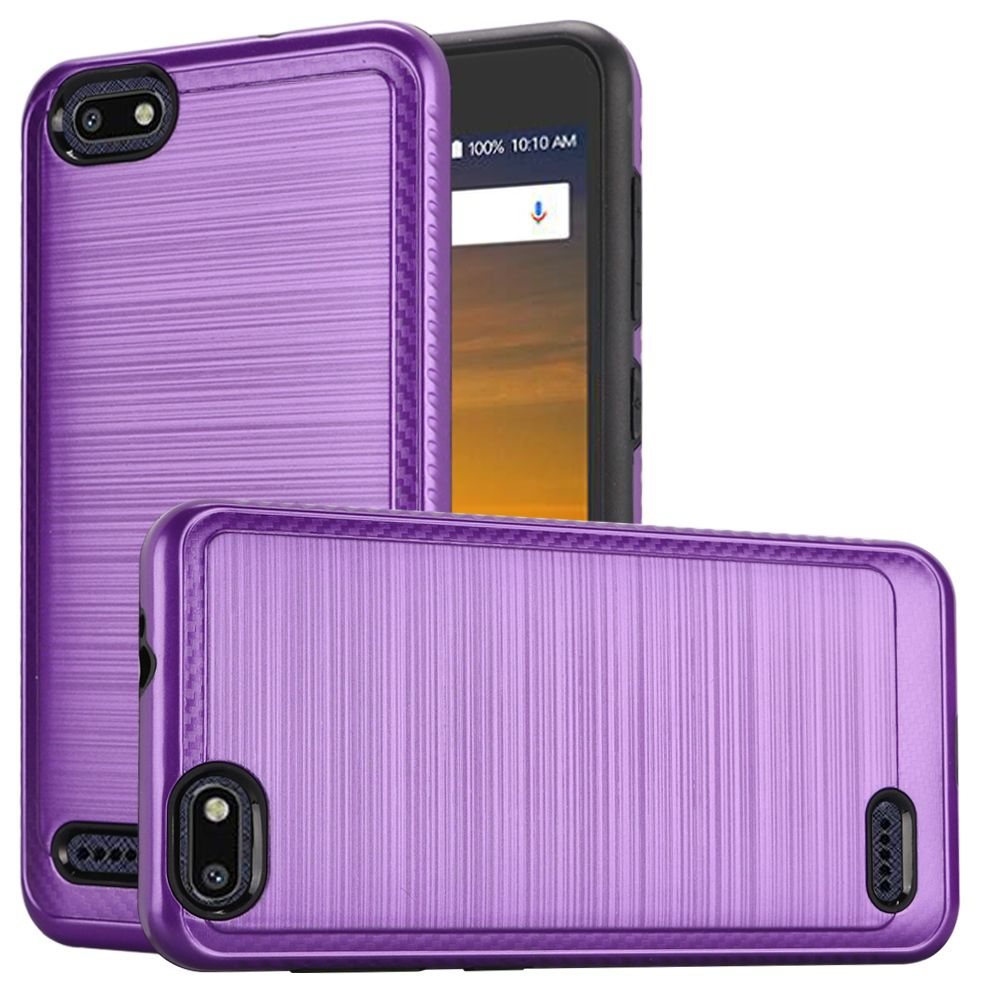 ZTE Blade Force Hybrid Case, [Purple] Slim Armor Brushed Metal Design Hard Case on TPU