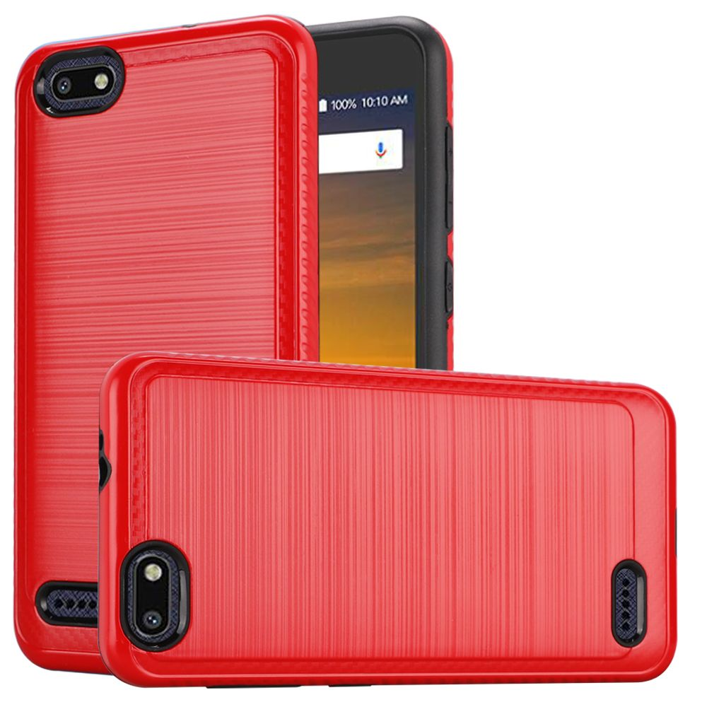 ZTE Blade Force Hybrid Case, [Red] Slim Armor Brushed Metal Design Hard Case on TPU