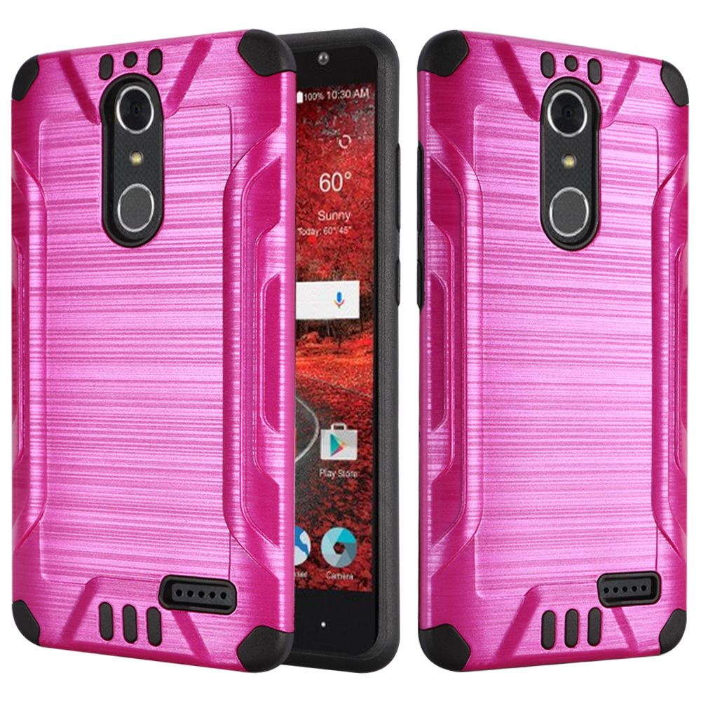 ZTE Grand X 4 Case, Slim Armor Brushed Metal Design Hybrid Hard Case on TPU [Hot Pink/ Black] with Travel Wallet Phone Stand