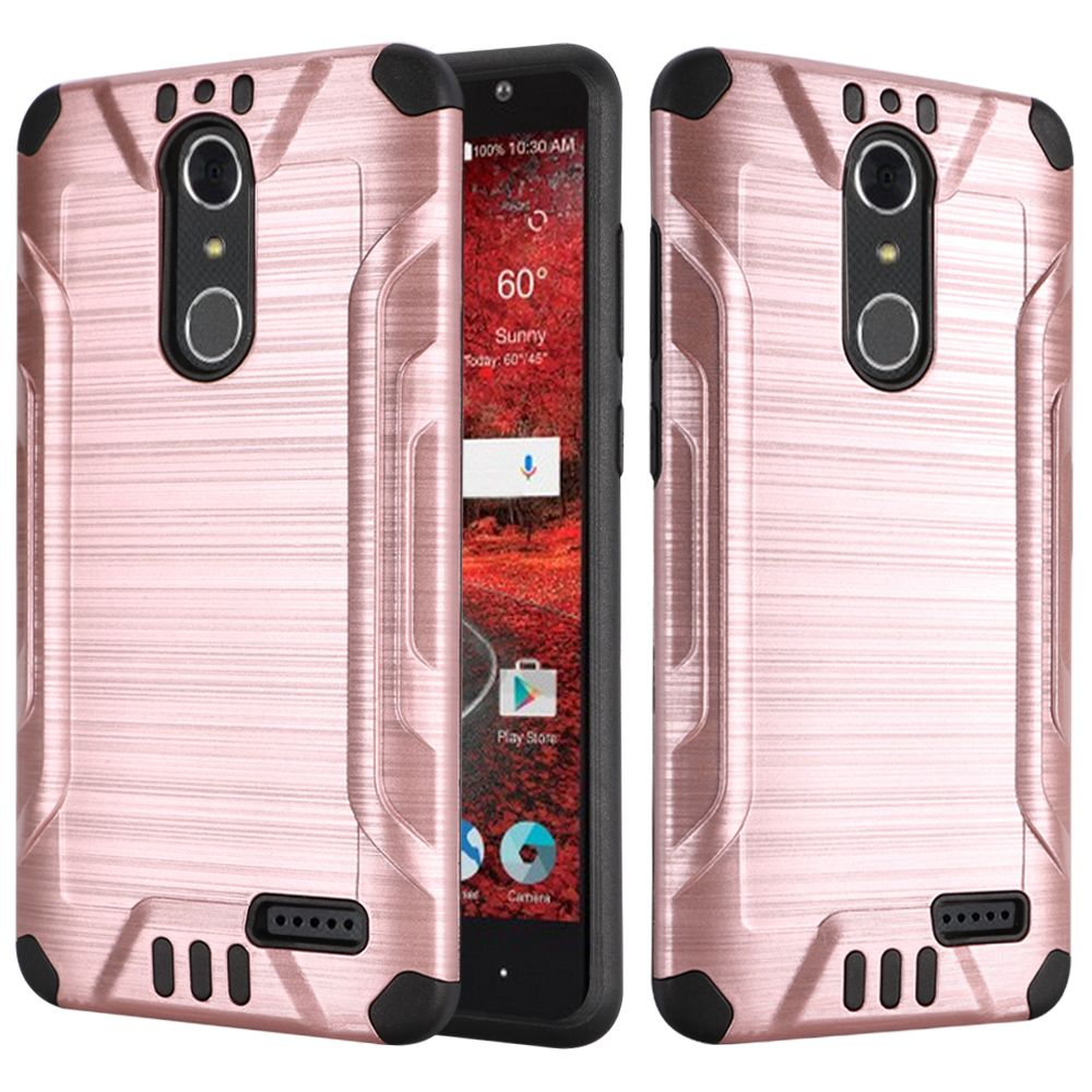 ZTE Grand X 4 Case, Slim Armor Brushed Metal Design Hybrid Hard Case on TPU [Rose Gold/ Black] with Travel Wallet Phone Stand
