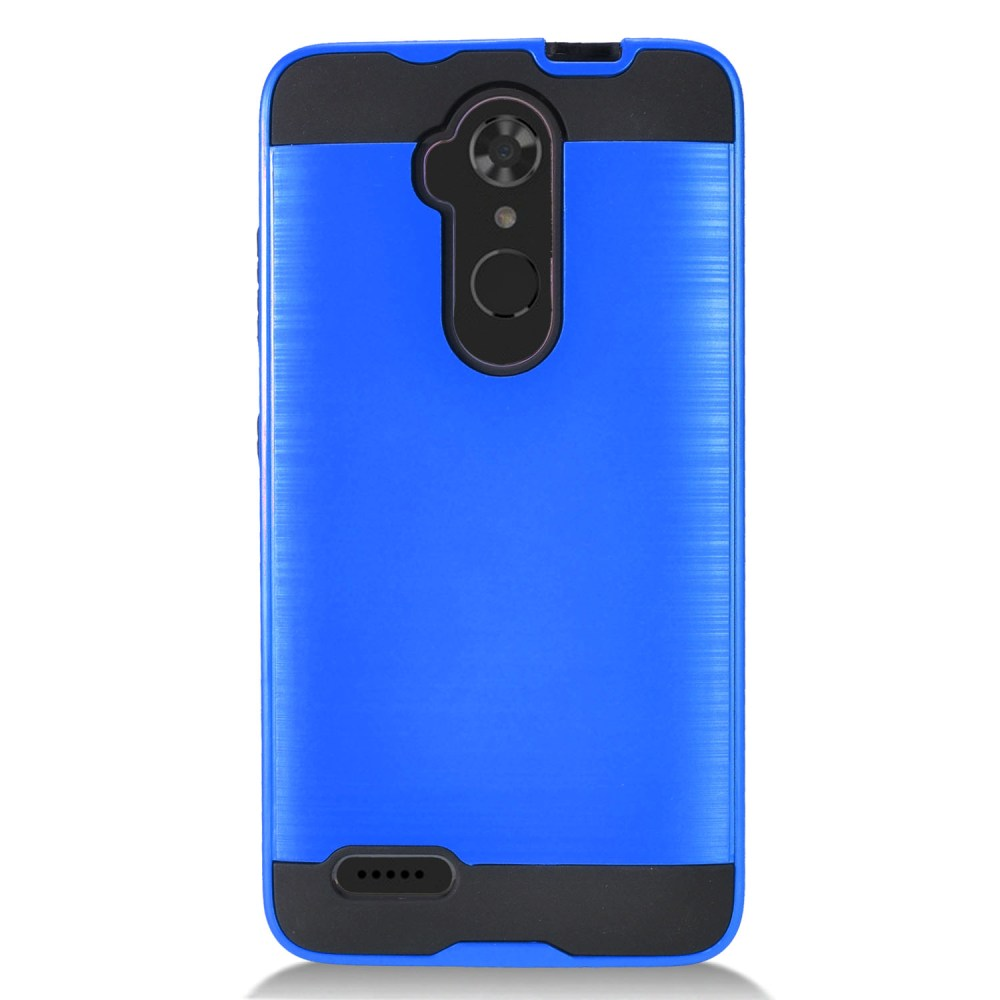 ZTE Max XL Hybrid Case, Slim Armor Brushed Metal Design Hybrid Hard Case on TPU [Blue] with Travel Wallet Phone Stand