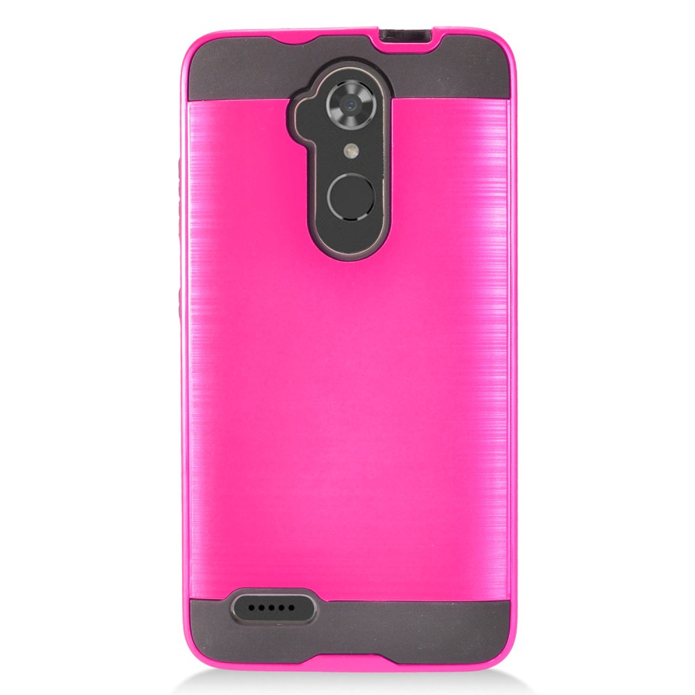 ZTE Max XL Hybrid Case, Slim Armor Brushed Metal Design Hybrid Hard Case on TPU [Hot Pink] with Travel Wallet Phone Stand