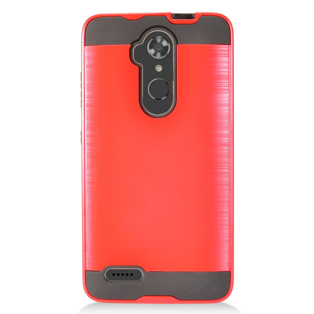 ZTE Max XL Hybrid Case, Slim Armor Brushed Metal Design Hybrid Hard Case on TPU [Red] with Travel Wallet Phone Stand