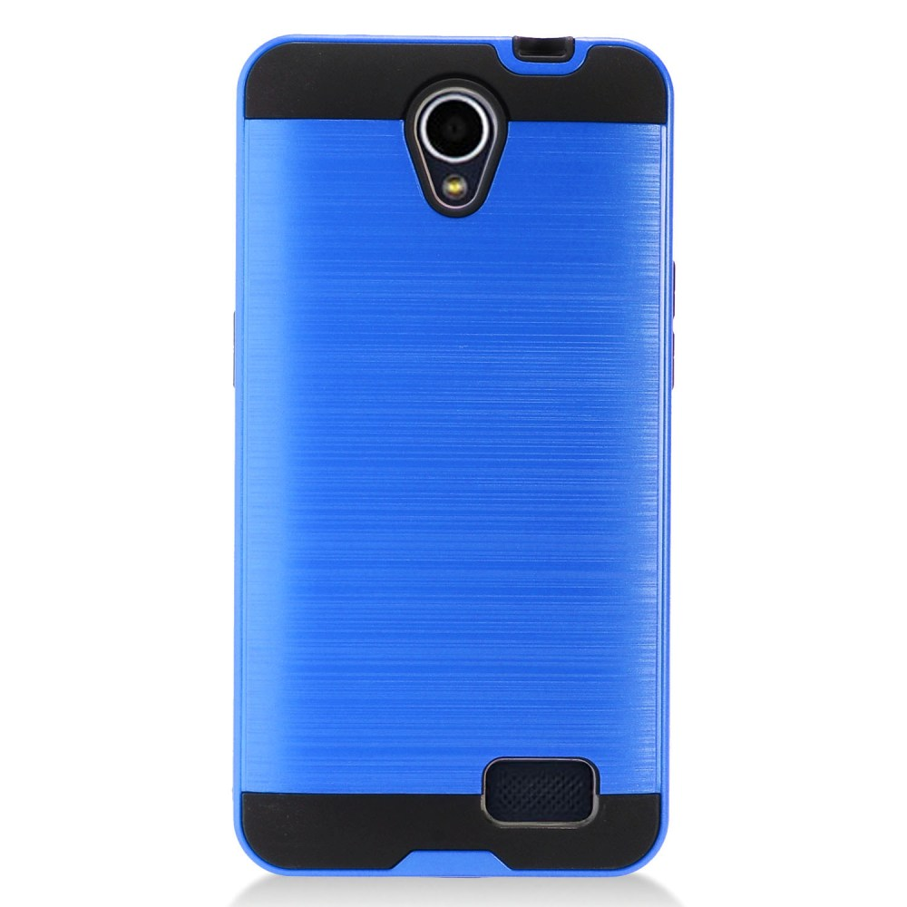 ZTE Prestige 2 Case, Slim Armor Brushed Metal Design Hybrid Hard Case on TPU [Blue] with Travel Wallet Phone Stand
