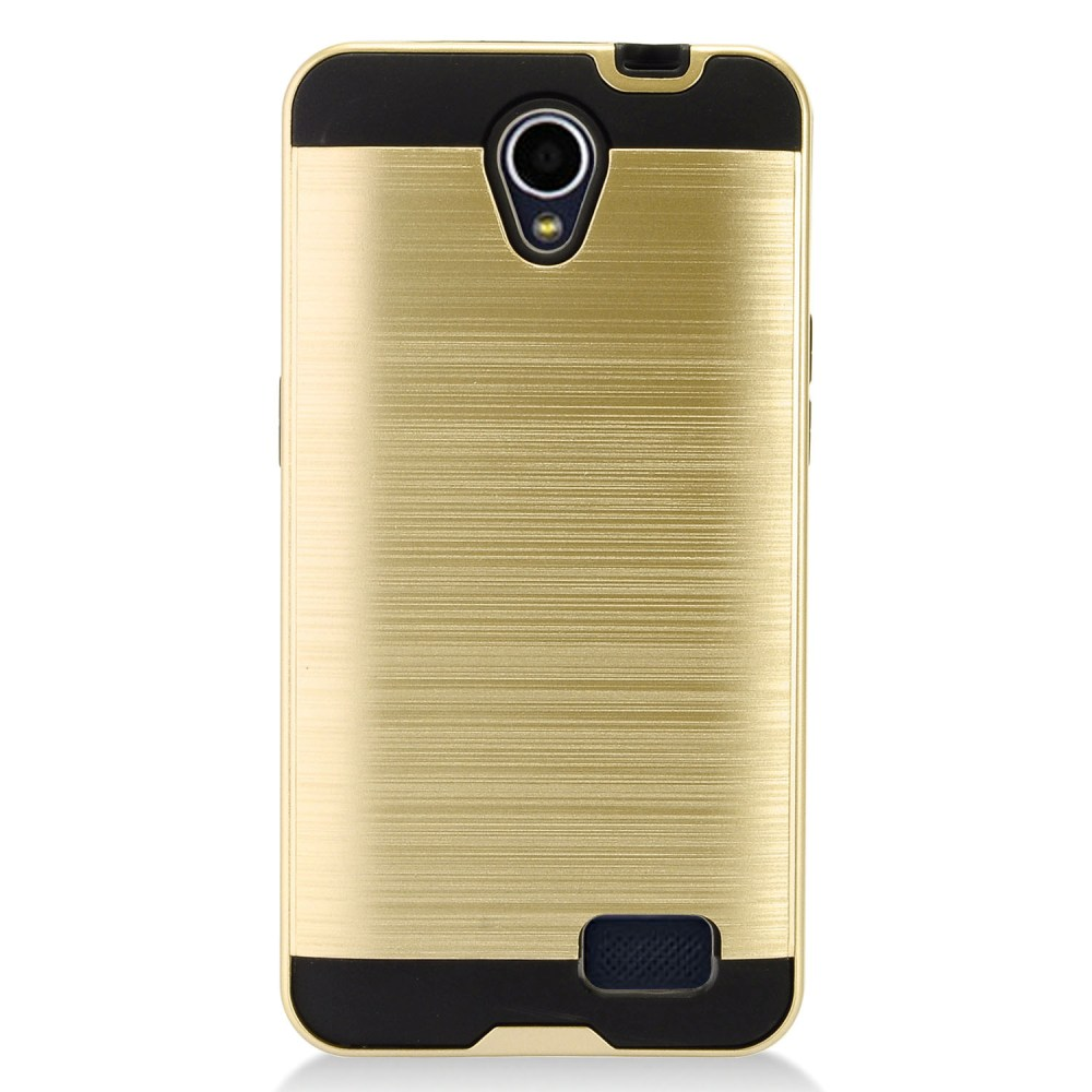 ZTE Prestige 2 Case, Slim Armor Brushed Metal Design Hybrid Hard Case on TPU [Gold] with Travel Wallet Phone Stand