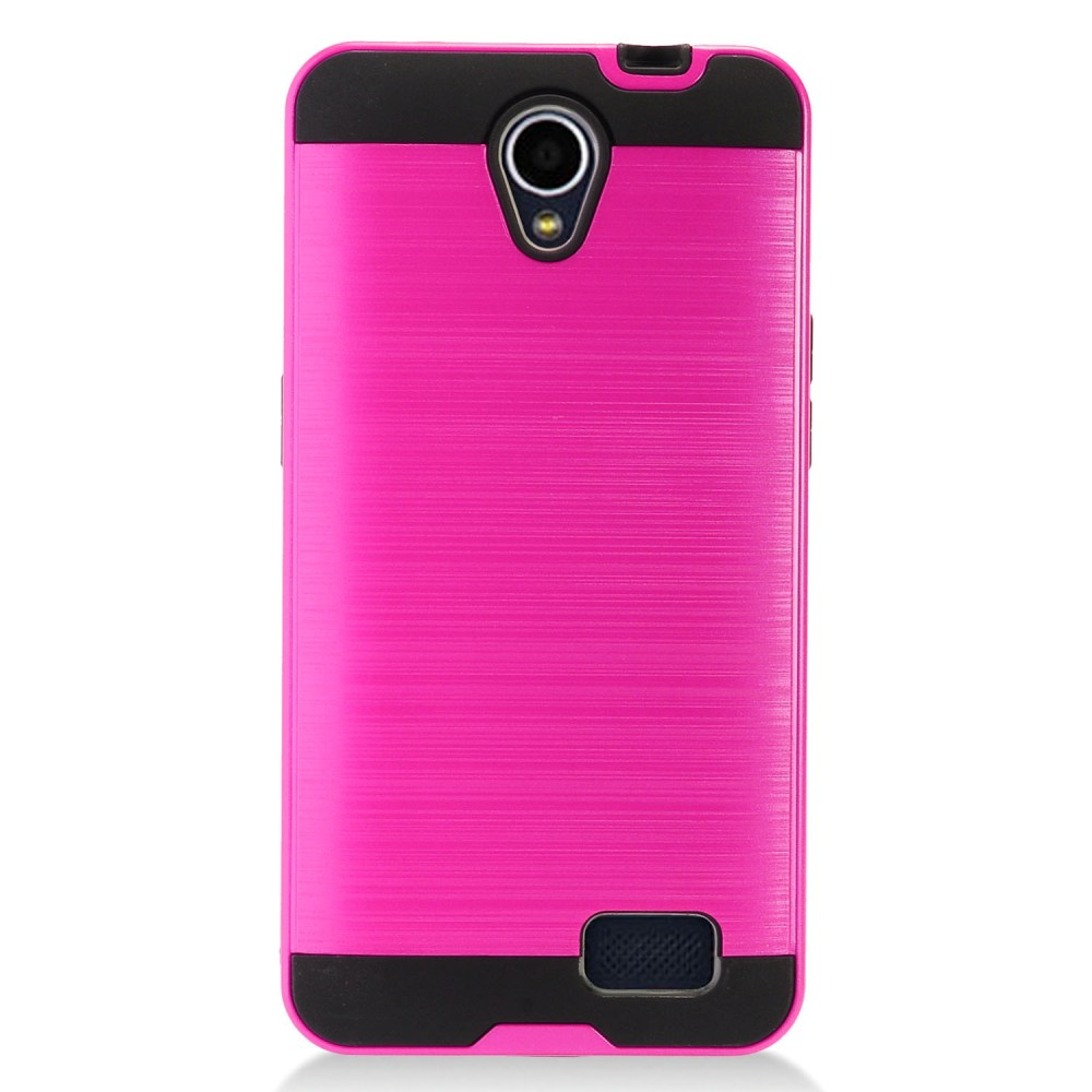 ZTE Prestige 2 Case, Slim Armor Brushed Metal Design Hybrid Hard Case on TPU [Hot Pink] with Travel Wallet Phone Stand