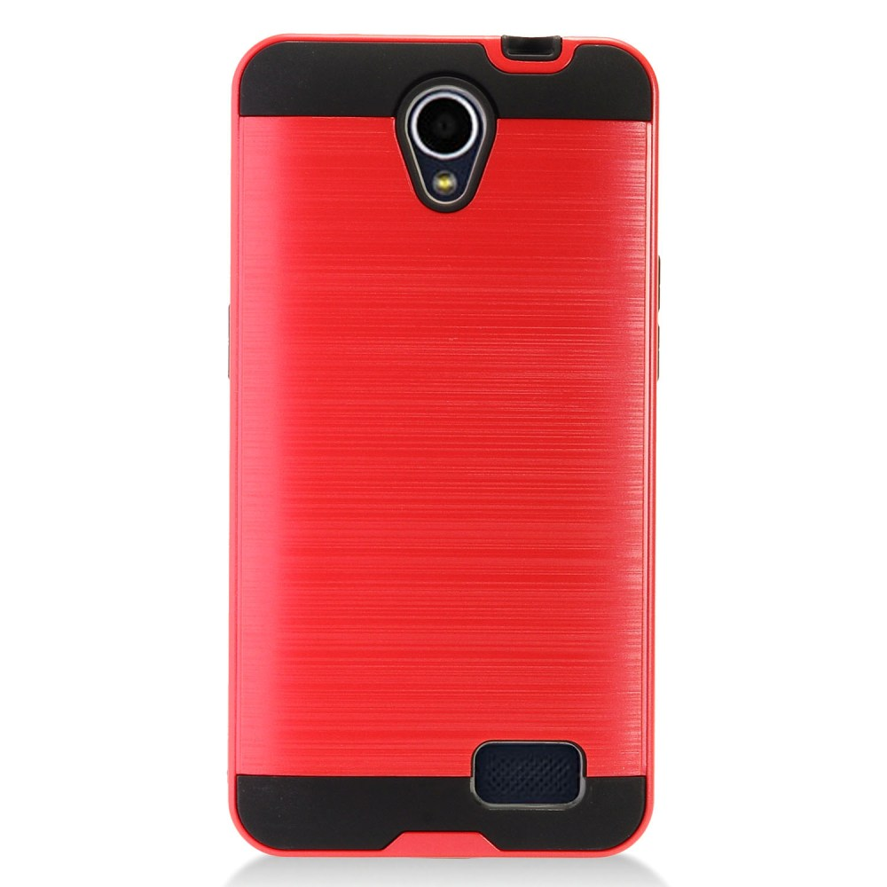 ZTE Prestige 2 Case, Slim Armor Brushed Metal Design Hybrid Hard Case on TPU [Red] with Travel Wallet Phone Stand