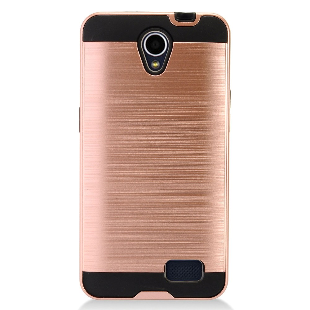 ZTE Prestige 2 Case, Slim Armor Brushed Metal Design Hybrid Hard Case on TPU [Rose Gold] with Travel Wallet Phone Stand