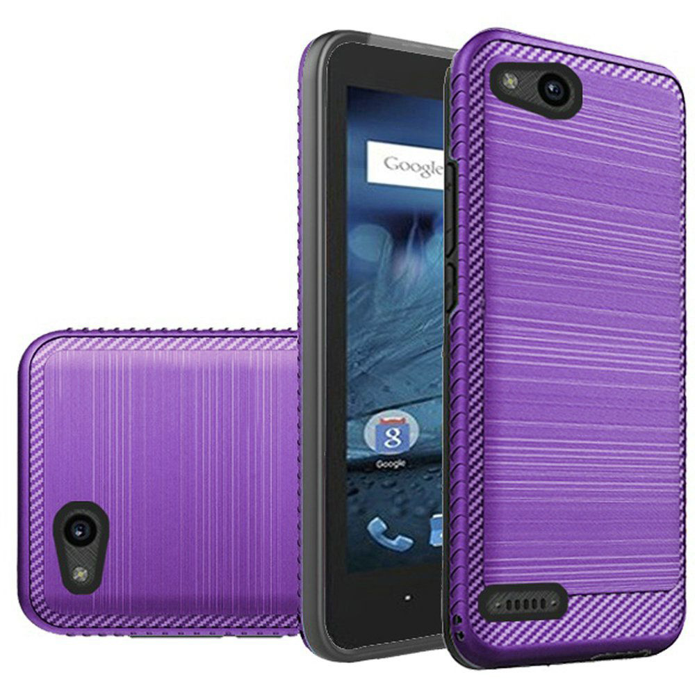 ZTE Tempo X/ Avid 4 Hybrid Case, [Purple/ Black] Slim Armor Brushed Metal Design Hard Case on TPU