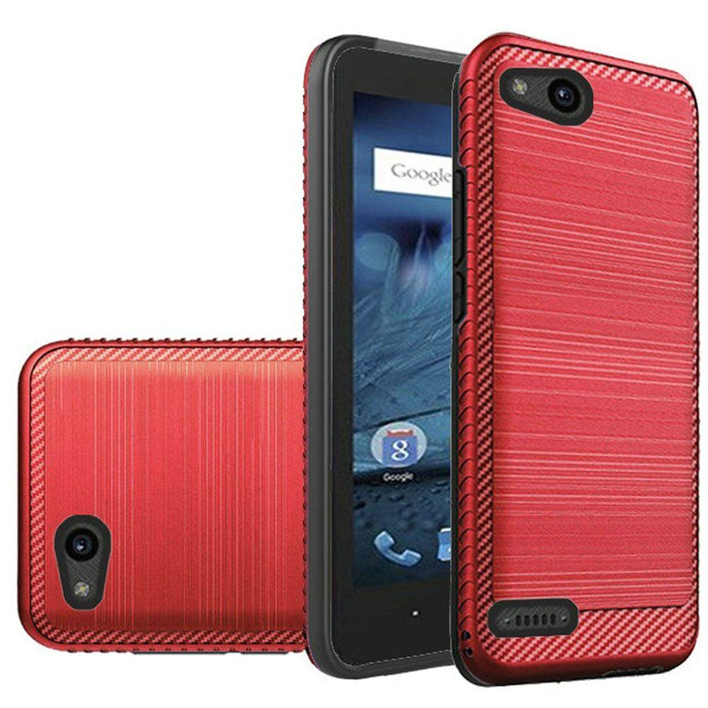 ZTE Tempo X/ Avid 4 Hybrid Case, [Red/ Black] Slim Armor Brushed Metal Design Hard Case on TPU