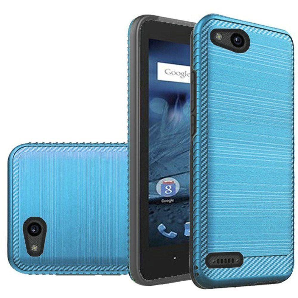ZTE Tempo X/ Avid 4 Hybrid Case, [Blue/ Black] Slim Armor Brushed Metal Design Hard Case on TPU