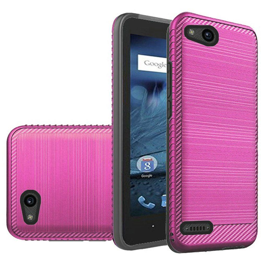 ZTE Tempo X/ Avid 4 Hybrid Case, [Hot Pink/ Black] Slim Armor Brushed Metal Design Hard Case on TPU