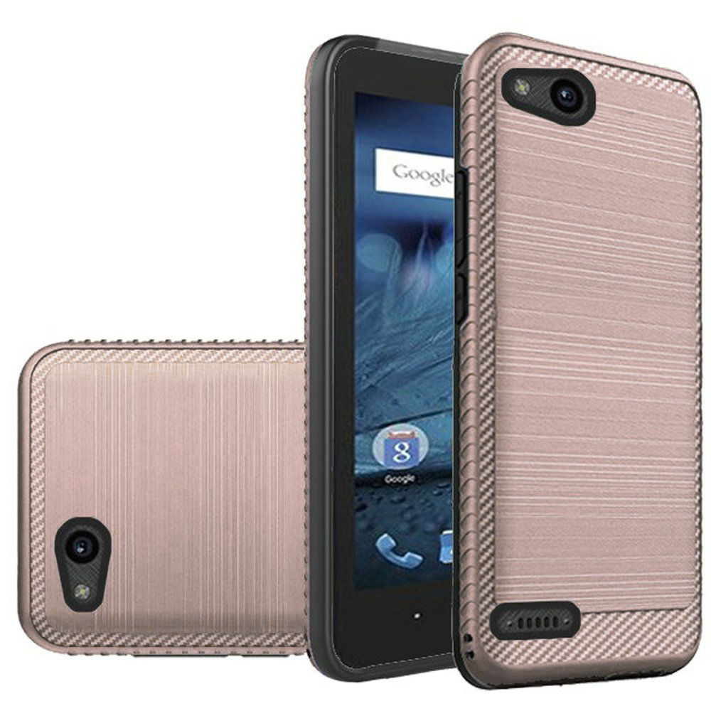 ZTE Tempo X/ Avid 4 Hybrid Case, [Rose Gold/ Black] Slim Armor Brushed Metal Design Hard Case on TPU
