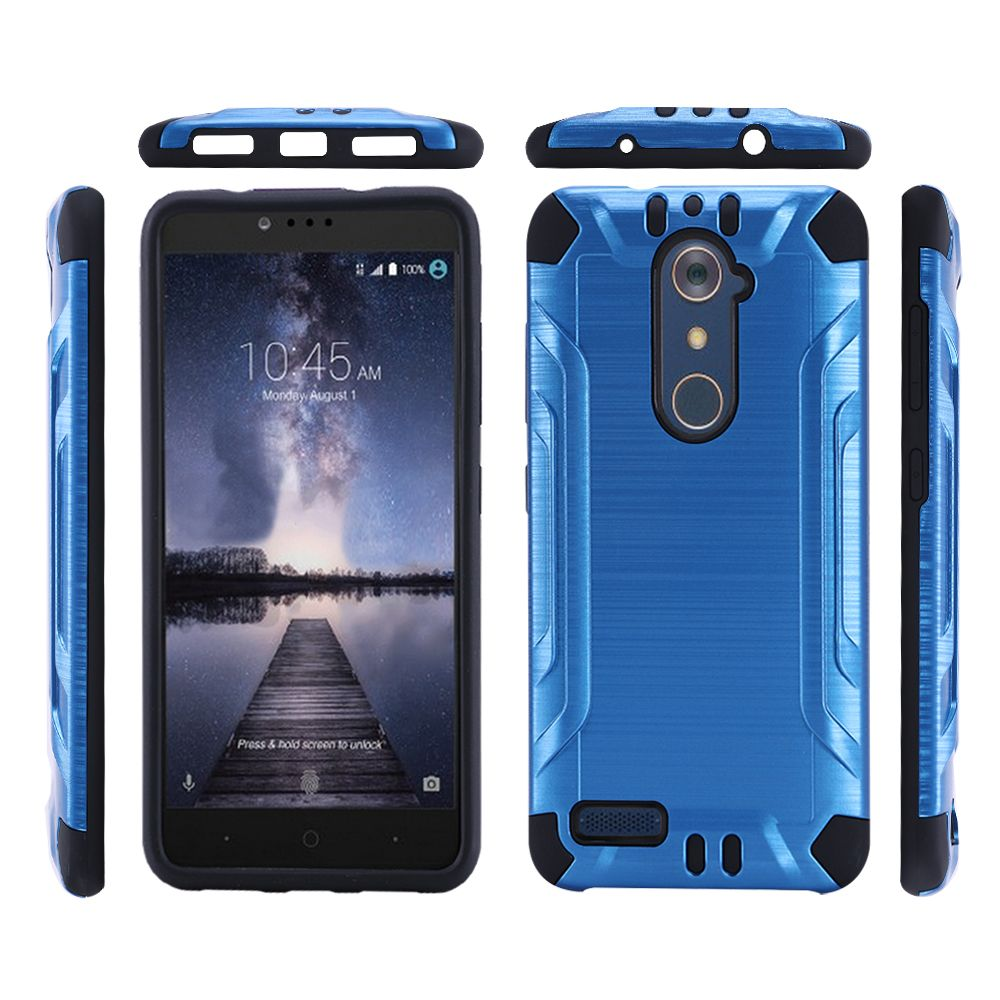 ZTE Z Max Pro Case, Slim Armor Brushed Metal Design Hybrid Hard Case on TPU [Blue/ Black]
