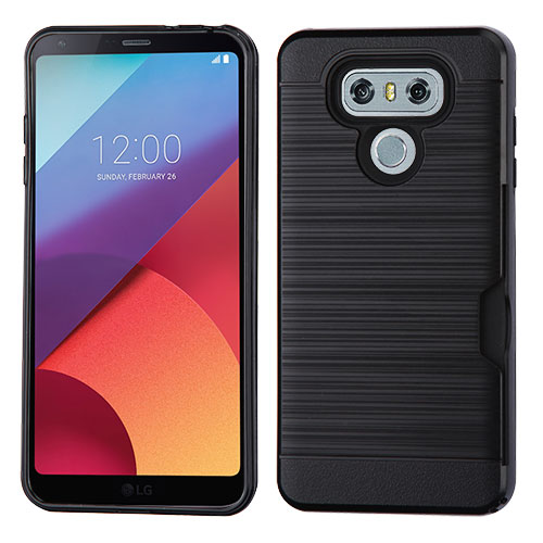 LG G6 ID Case, Slim Brushed Metal Hybrid Hard Case on TPU w/ Card Slot [Black] with Travel Wallet Phone Stand