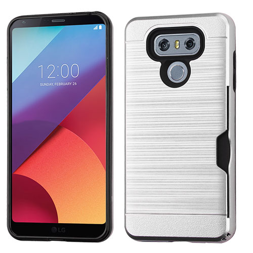 LG G6 ID Case, Slim Brushed Metal Hybrid Hard Case on TPU w/ Card Slot [Silver] with Travel Wallet Phone Stand
