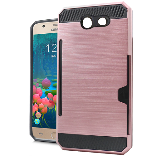 Samsung Galaxy J7 [2017]/ Galaxy J7 Perx/ J7 V/ Galaxy Halo ID Case, Slim Brushed Metal Hybrid Hard Case on TPU w/ Card Slot [Rose Gold] with Travel Wallet Phone Stand