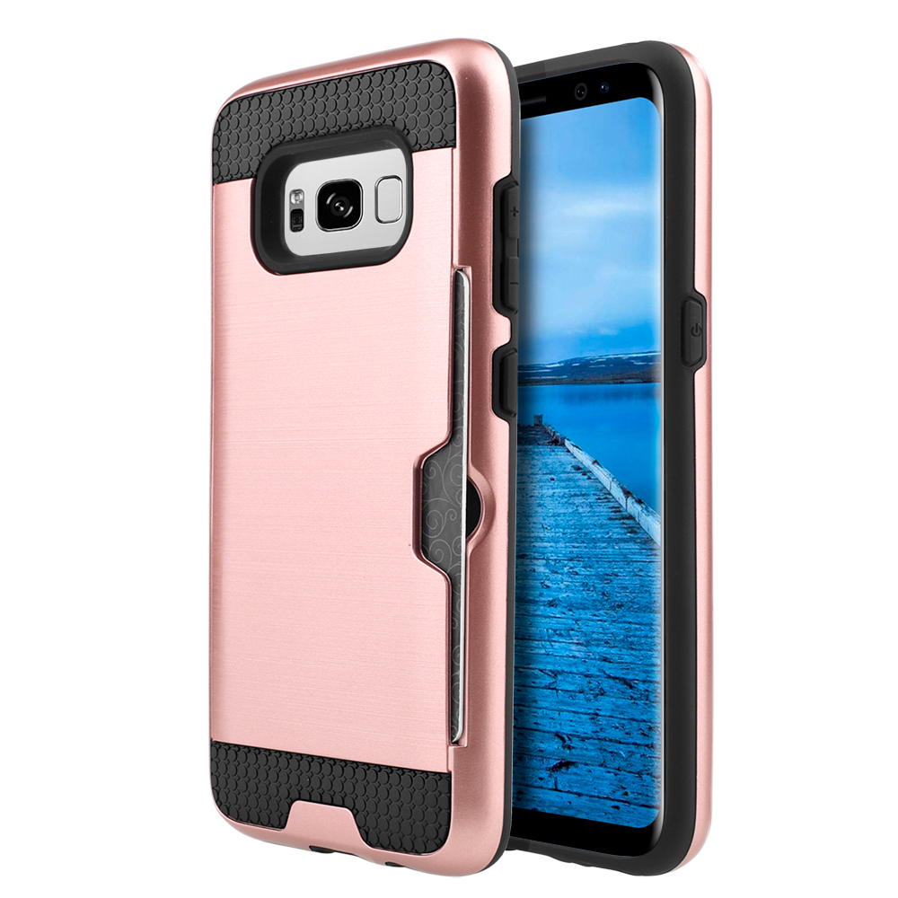 Samsung Galaxy S8 Slim Case, Slim Brushed Metal Hybrid Hard Case on TPU w/ Card Slot [Rose Gold/ Black] with Travel Wallet Phone Stand