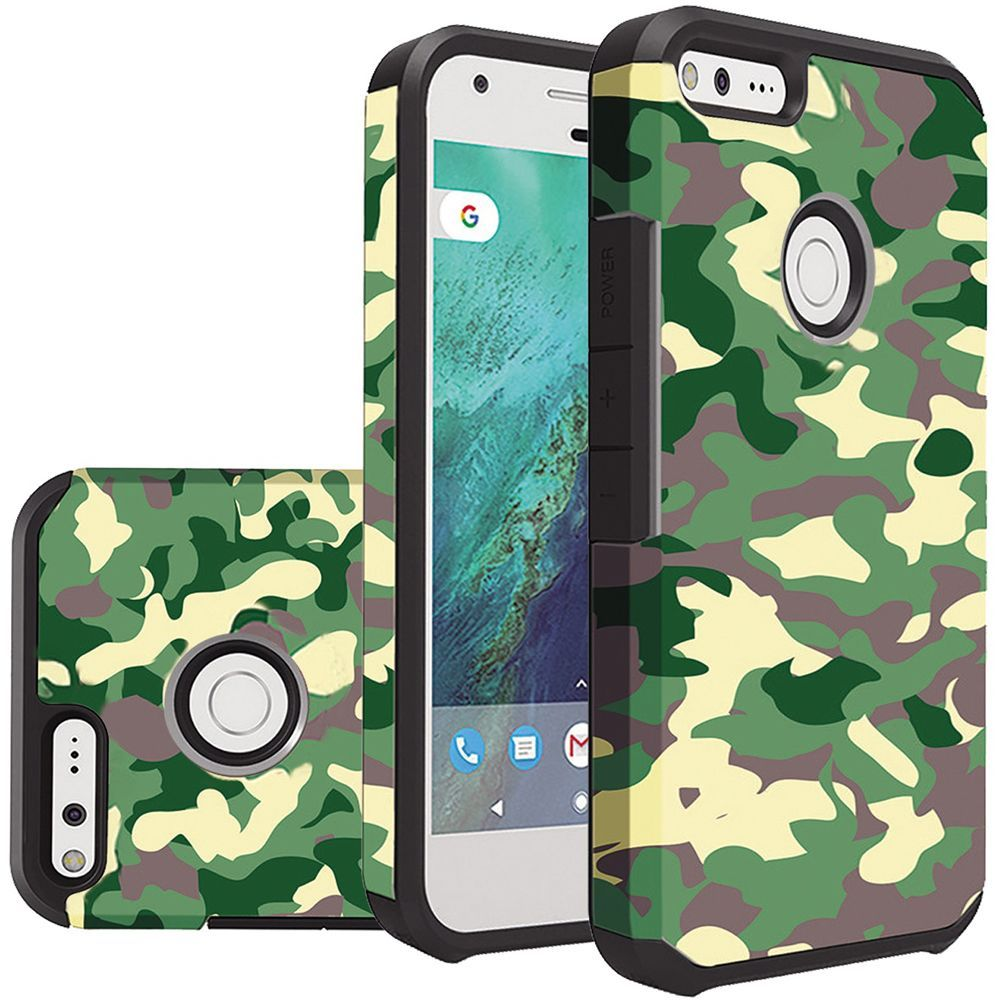 Google Pixel Case, Rubberized Slim Dual layer Hybrid Hard Case on TPU Case [Camouflage Green] with Travel Wallet Phone Stand