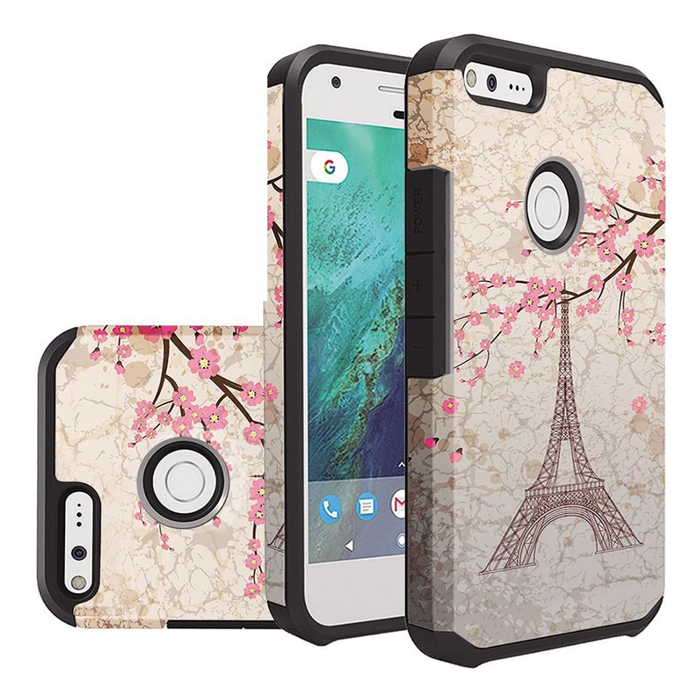 Google Pixel Case, Rubberized Slim Dual layer Hybrid Hard Case on TPU Case [White Vintage Eiffel Tower Paris] with Travel Wallet Phone Stand