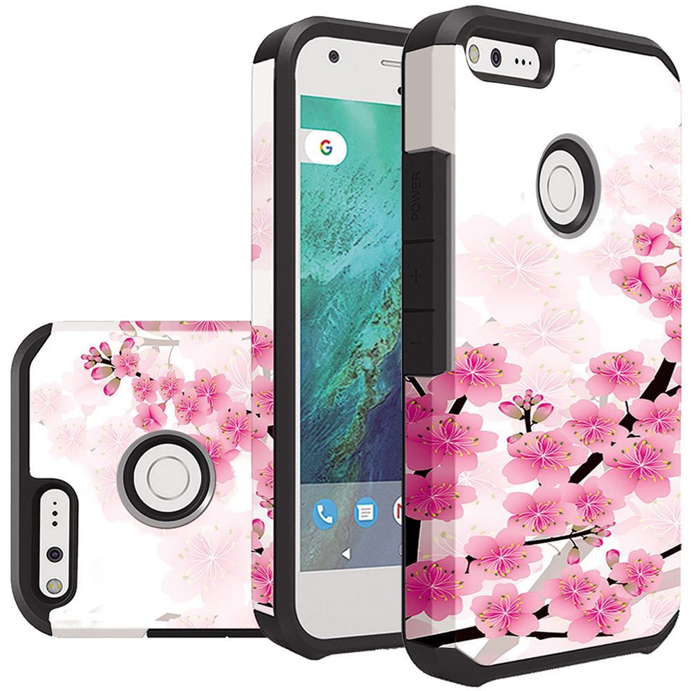 Google Pixel Case, Rubberized Slim Dual layer Hybrid Hard Case on TPU Case [Sakura Cherry Blossom] with Travel Wallet Phone Stand