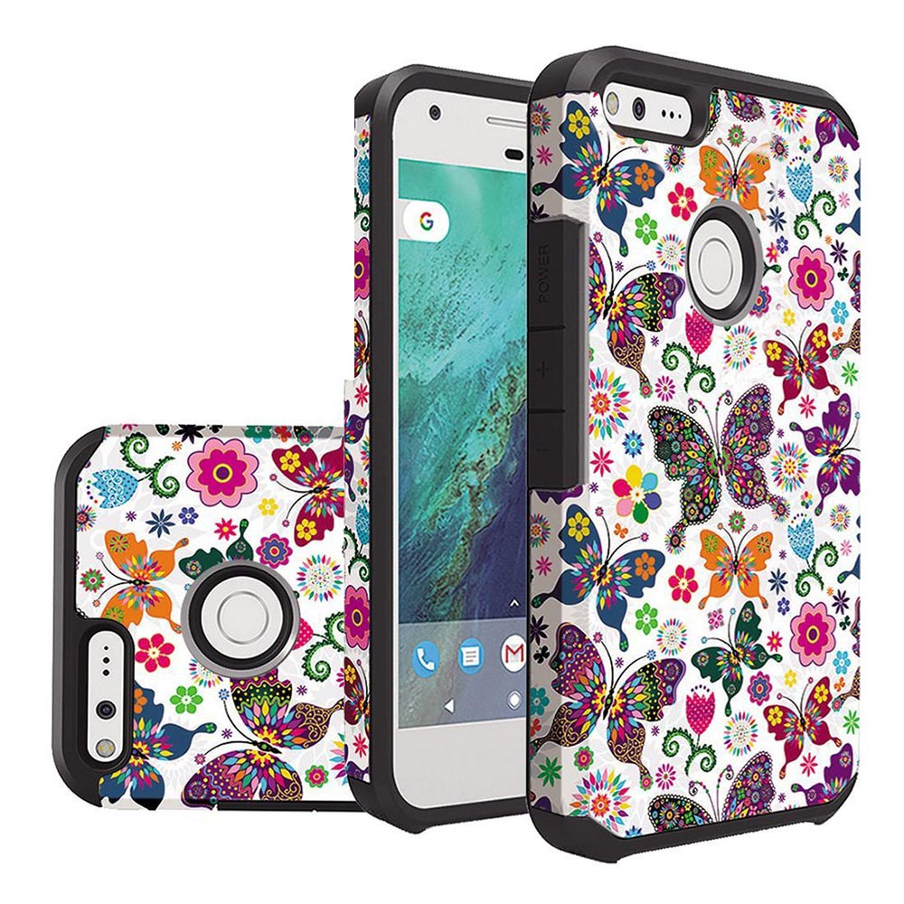 Google Pixel XL Case, Rubberized Slim Dual layer Hybrid Hard Case on TPU Case [Colorful Butterfly Flower Polka Dot Floral] with Travel Wallet Phone Stand