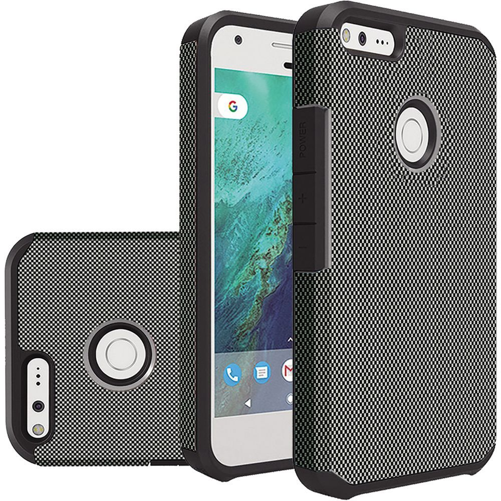 Google Pixel XL Case, Rubberized Slim Dual layer Hybrid Hard Case on TPU Case [Carbon Fiber Design] with Travel Wallet Phone Stand
