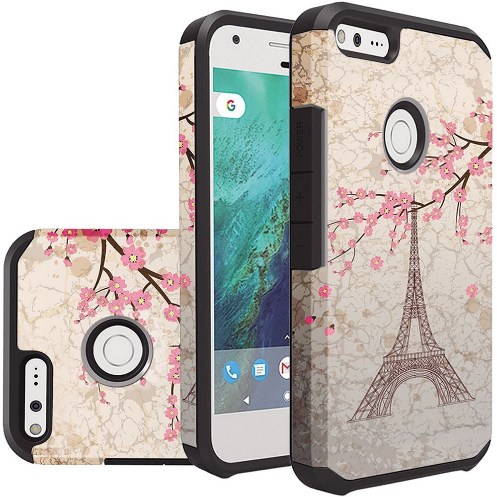 Google Pixel XL Case, Rubberized Slim Dual layer Hybrid Hard Case on TPU Case [White Vintage Eiffel Tower Paris] with Travel Wallet Phone Stand