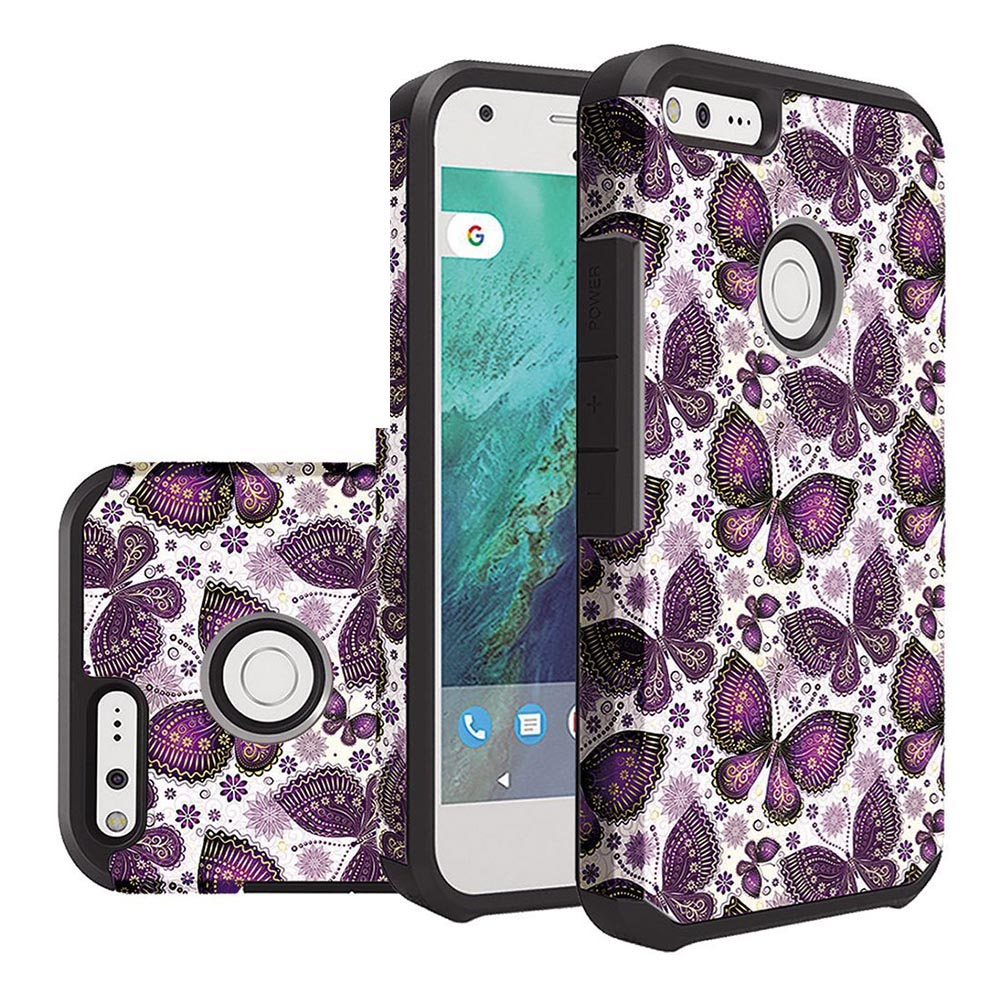 Google Pixel XL Case, Rubberized Slim Dual layer Hybrid Hard Case on TPU Case [Violet Butterfly Flower Polka Dots Mandala] with Travel Wallet Phone Stand