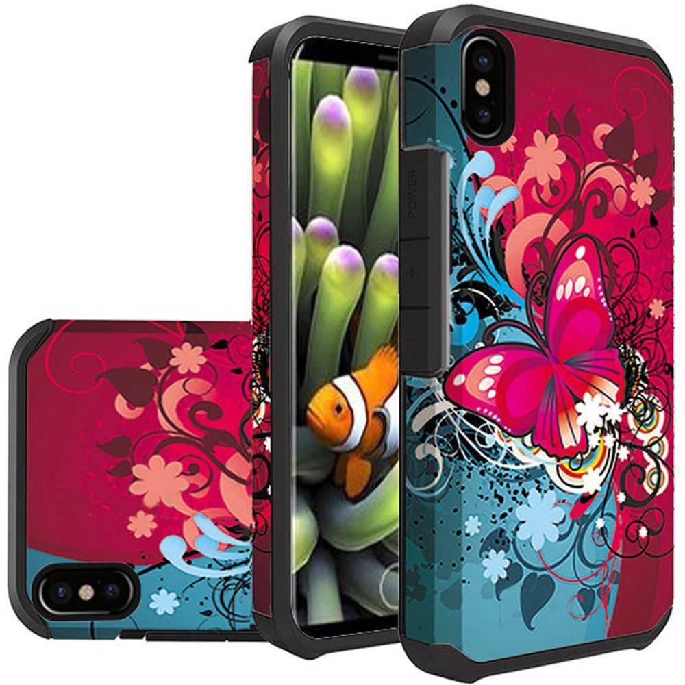 Apple iPhone X Shockproof Case, Rubberized Slim Dual layer Hybrid Hard Case on TPU [Butterfly Bliss]